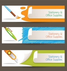 Cutter pen brush objects banner vector