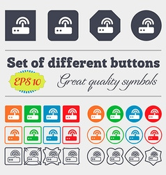 Wi fi router icon sign big set of colorful diverse vector