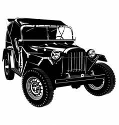 Retro army car vector
