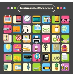 Business stationery supplies icons set vector