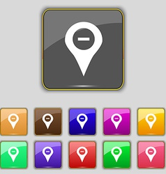 Minus map pointer gps location icon sign set with vector
