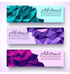 Bright colors set banners polygonal low poly vector