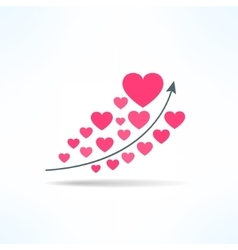 Love graph with hearts liking raise vector