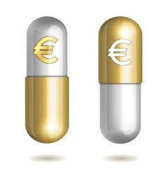 Capsule pills with euro signs vector