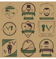 Set of vintage barber hairstyle and gentlemen club vector