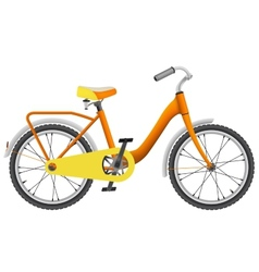 Realistic orange childrens bike for boys vector