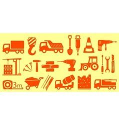 Construction set yellow objects vector