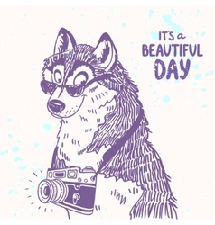 Dog with a camera vector