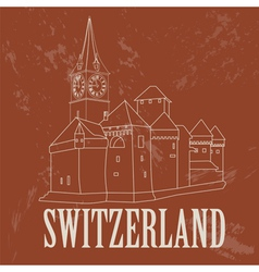 Switzerland landmarks retro styled image vector