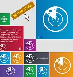 Radar icon sign metro style buttons modern vector