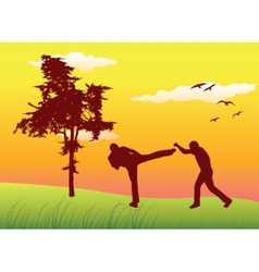 Silhouette of two men making kickboxing exercises vector
