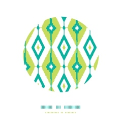 Emerald green ikat diamonds circle decor patterns vector