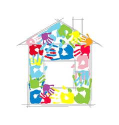 House made from childrens and parents handprints vector