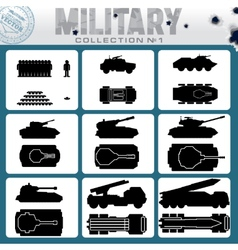 Various military vehicles icons vector