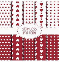 Set of red romantic geometric seamless pattern vector
