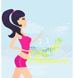 Jogging girl in summer poster vector