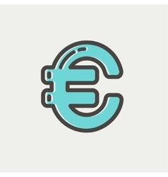 Euro symbol thin line icon vector