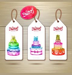 Set of art cake or dessert banners vector