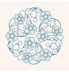Round floral ornament vector