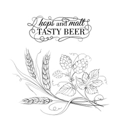 Golden wheat and hop on sepia vector
