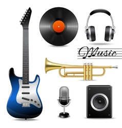 Realistic music icons set vector