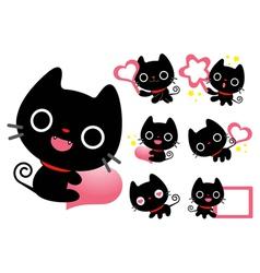 Flexibility as possible a set of black cat mascot vector