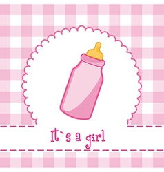 Its a girl card with bottle baby baby shower vector