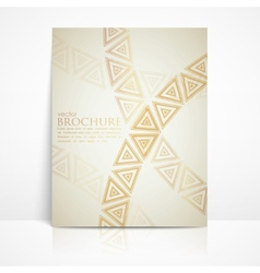 Background with golden triangles brochure template vector