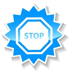 Stop blue icon vector