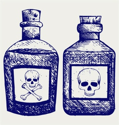 Glass bottles of poison vector