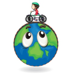 A boy riding on bicycle on earth globe vector