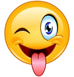 Stuck out tongue and winking eye emoticon vector