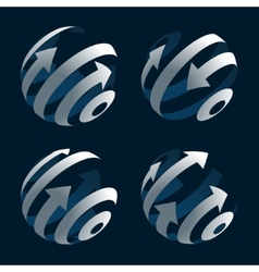 Set of abstract arrow globes stock vector