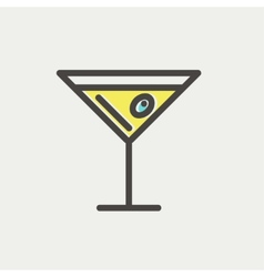 Glass of martini thin line icon vector