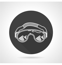 Ski goggles black round icon vector