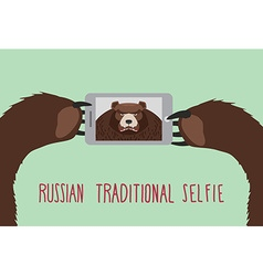 Russian tradition selfie bear takes pictures of vector