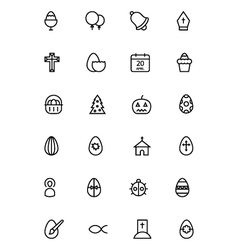 Easter line icons 5 vector