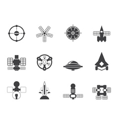 Silhouette future spacecraft icons vector