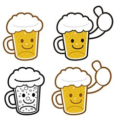 Beer cup mascot full of foam food and market vector