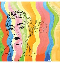 Vintage pop art girl vector
