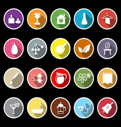 Spa treatment flat icons with long shadow vector