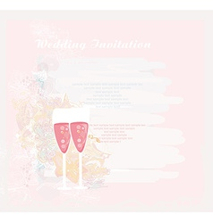 Invitation to wedding with champagne vector
