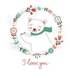 I love you card with polar bear vector