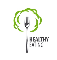 Logo fork and green cloud vector