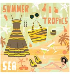 Fashion set summer clothes vector