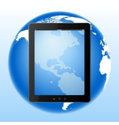 Tablet computer and earth vector