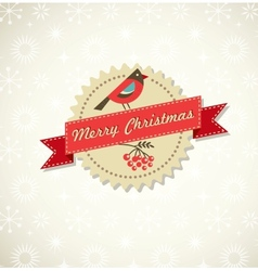 Christmas vintage background with bird sticker and vector