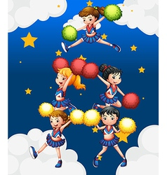 Five cheerdancers dancing with their pompoms vector