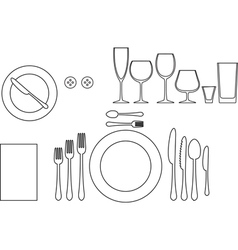 Outline silhouette of tableware vector