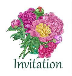 Vintage card with peonies vector